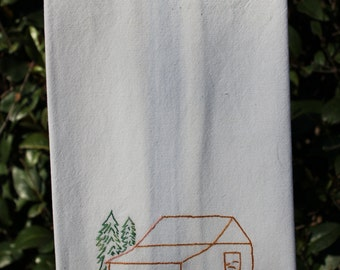 Hand Embroidered Ranch ~ Tea Towel   Dish Towel