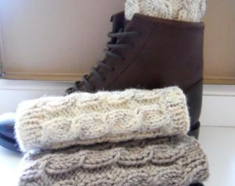 Knitted Boot cuffs  Oatmeal Taupe Dark Grey White  Leg Warmers Cable knit  Boot Topers  Knit Boot Socks