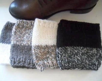 Knitted 2 ways to wear Boot Cuffs - Leg Warmers - Boot Toppers Beige Ivory Grey Taupe Black Red