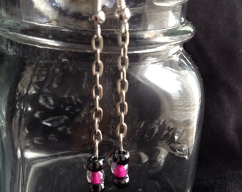Hot pink and slate chain earrings