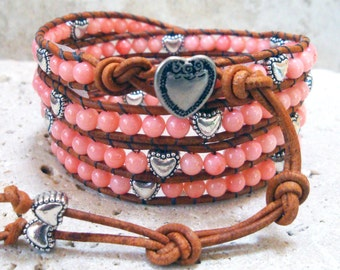 Sweetheart Pink Coral & Hearts Gemstone Leather Wrap Bracelet