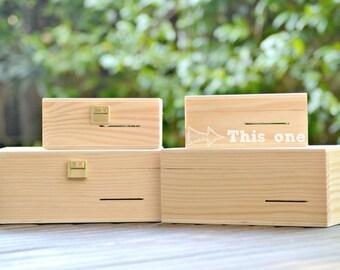 DIY Music Box. Wood Box without locker. Hand cranked Musical Mechanism.