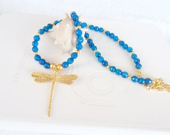 Petrol Blue Stone Necklace, Blue Agate Necklace,Dragonfly Pendant Necklace, Gold Necklace, Wedding Necklace
