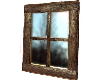 WINDOW PANE MIRROR, Rustic Window Mirror, Rustic Mirror, Log Mirror, Cedar Mirror, Mirror, Wall Mirror