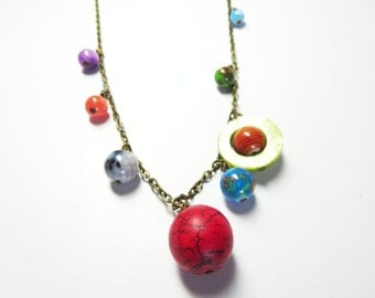 Sale Solar -Planets Necklace -Solar System  necklace  -Galaxy necklace,Space Jewelry  and free gift