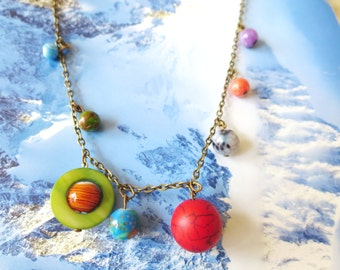 Planets Necklace -Solar System necklace -galaxy  jewelry - Space Jewelry