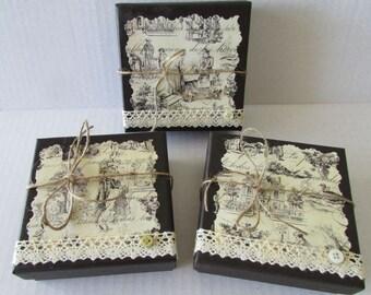 large jewelry trinket gift boxes vintage drawing set of 3 boxes 4x4x1.5 romantic bridal bracelet necklace