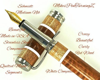 Custom Wooden Pen Fountain Pen Beautiful Curly Red Wood with Quilted Maple and White Segments Made in USA Stainless Steel Hardware 701FPSSA