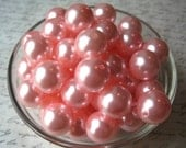 Faux Pearl Beads, 10 pcs 18mm Pink Chunky Faux Pearl Bead, Gumball Beads, Chunky Bubblegum Bead, Acrylic Bead, Necklace Beads