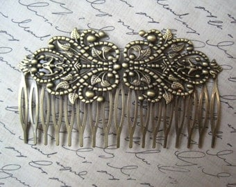 Filigree Hair Comb 1 to 3 pc Antique Bronze Filigree Hair Accessory / Wedding Hair Comb Blank / 94mm x 56mm