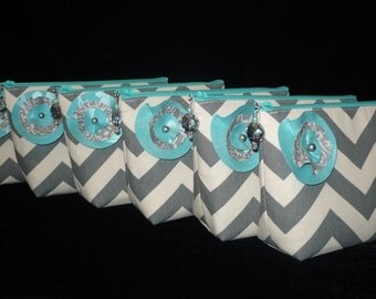 CUSTOM Bridesmaids Set of 7 Chevron Make Up/Cosmetic Jeweled bags purses, You Pick the Colors,handmade