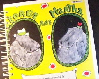 George & Martha hippos blank book diary journal