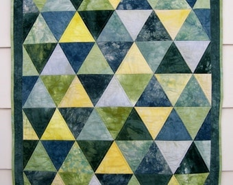 Triangle Baby Quilt, Patchwork Crib or Cot Quilt, Wall Hanging in Teal, Green, and Yellow Hand Dyed Pyramids Gender Neutral Baby Quilt