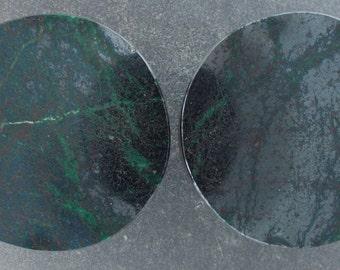 "Malachite Chrysocolla 11/8"", 28.5mm, ear plugs one pair"