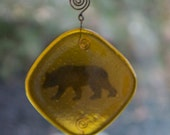 Fused Glass Bear Totem, Sun Catcher, Wind Chime, Zen, Sun Chime