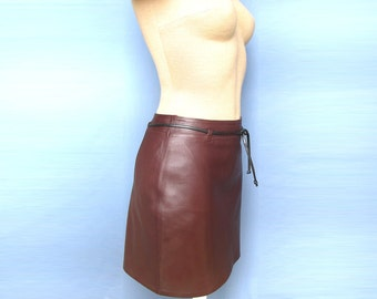 Hot Sexy Maroon Leather Mini Skirt Stylish With cute belt