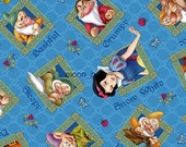 2 yards Disney Classic Snow White & the Seven Dwarfs Character Tossed Blue Cotton Fabric 49556