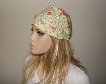 Floral Bandana Headband, Yellow  Butterfly Head Wrap, Blue Pink Head Scarf Wide Woman Headband, Purplen Turban Headband Yoga Headband tribal