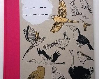 A4 Get More Exercise Bird Book - hardback sketchbook/unlined notebook