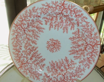 6 Antique Minton Dinner Plates/ Dinnerware Set/Fancy Dishes/Ca 1878/ Fibre Red / Rust Twigs /Fine China/ Wedding Gift/Dinner Party