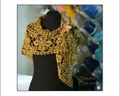 PATTERN - Crochet - Lacy Flower Shawl - Mustard