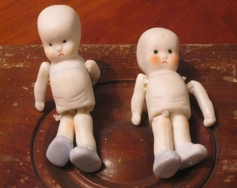 Two 1972 New Bisque Dolls / Heeby Sheeby Doll / Handmade Bisque Doll