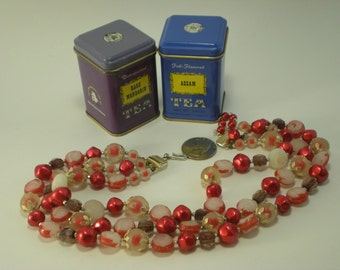 Red and Gold Triple Stranded Vintage Necklace