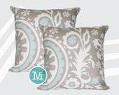 Powder Blue & Taupe Suzani Pillow Covers - Many Sizes Lumbar, 12, 14, 16 - Zipper Closure- dc246l