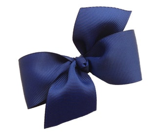 Two loop navy hair bow - navy blue bow, boutique bows, navy bows, girls hair bows, toddler bows, girls bows