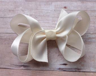 Ivory satin hair bow - ivory hair bow, satin bow