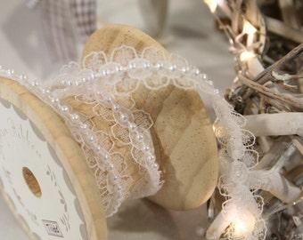 Lace & Pearl Ribbon, White Ribbon, Wedding Lace Ribbon, By the Metre, Craft, Vintage, Pretty