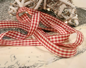 Country Gingham Ribbon, Check Ribbon, Christmas Ribbon, By the Metre, 15mm, Red Cream