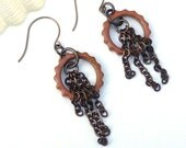 SALE - Top Gear ~~ Ceramic Gear Link and Chain Earrings - Brass Chain Earrings - Pink Jewelry - Gears - Steampunk - Grace of Eden