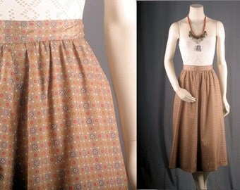 Vintage skirt floral beige pockets gpsy bohemian 1960s women S small