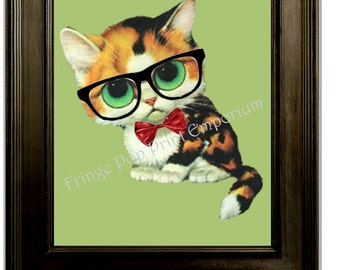 Hipster Cat With Glasses Art Print 8 x 10 - Geek - Nerd - Humor - Kawaii - Quirky