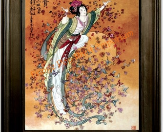 Chinese Butterfly Art Print 8 x 10 - Asian Woman with Butterflies - Whimsical - Eastern