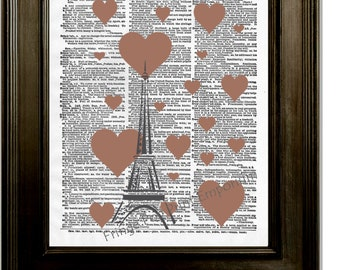 Eiffel Tower Art Print 8 x 10 Dictionary Page - Hearts Around Eiffel Tower - Whimsical Romantic French - France