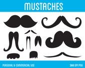 Mustaches Clip Art - Digital Clipart for Personal & Commercial Use