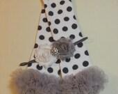 Polka Dot Leg Warmers Headband Set / White Leg Warmers with Grey Polka Dots and a Grey Ruffle With Matching Flower Headband, Infant - Adult