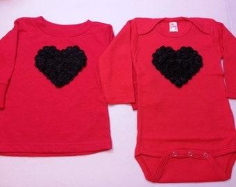 RED VALENTINE Onesie / Shirt, Baby heart Onesie, Baby Valentine Onesie, Red Toddler Shirt, Toddler Heart Shirt, Red Baby Onesie, Girls Shirt