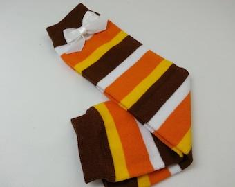 Fall Leg Warmers, Brown,  Orange, White and Yellow Striped Leg Warmers, Leg Warmers/Arm Warmers, Infant - Toddler