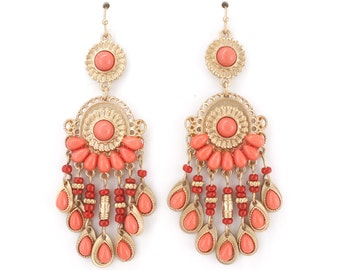 Gold tone Romantic Pink Beads Chandelier Earrings,R4