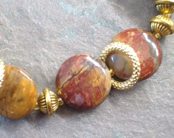 "Picasso Jasper Bracelet / Fall / Burgundy / Stone / Gold / Rings / Beads / Brown / Disc - 8"" long - B51"
