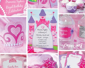 Instant Download, Pretty Pretty Princess Printable Party Package, Pink, You Edit Yourself in Adobe Reader