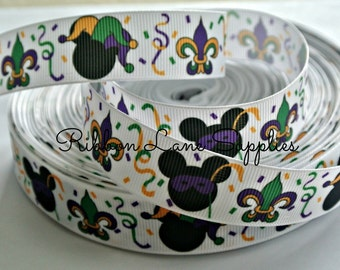"""7/8"""" Ribbon by the Yard- Mouse Head Mardi Gras Celebration white Disney Grosgrain Ribbon-Perfect for Bows Clips Scrap booking Sewing"""