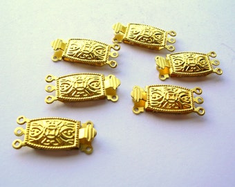 Ornate Brass Clasp - Three Strand - Brass Findings