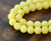 Mountain Jade Beads, Lemon Yellow, 6mm Round - 15 Inch Strand - eMJR-Y05-6