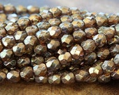 Gold Smoked Topaz Luster Czech Glass Beads, 6mm Faceted Round - 50 pcs - e15695-6