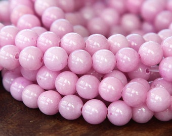 Mountain Jade Beads, Pale Mauve, 6mm Round - 15.5 Inch Strand - eMJR-P23-6