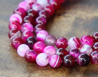 Striped Agate Beads, Fuchsia, 6mm Round - 15 inch strand - eGR-AG58209-6